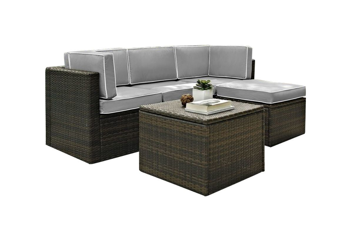 Palm Harbor Grey 5 Piece Outdoor Sectional Seating Set by Crosley from Gardner-White Furniture