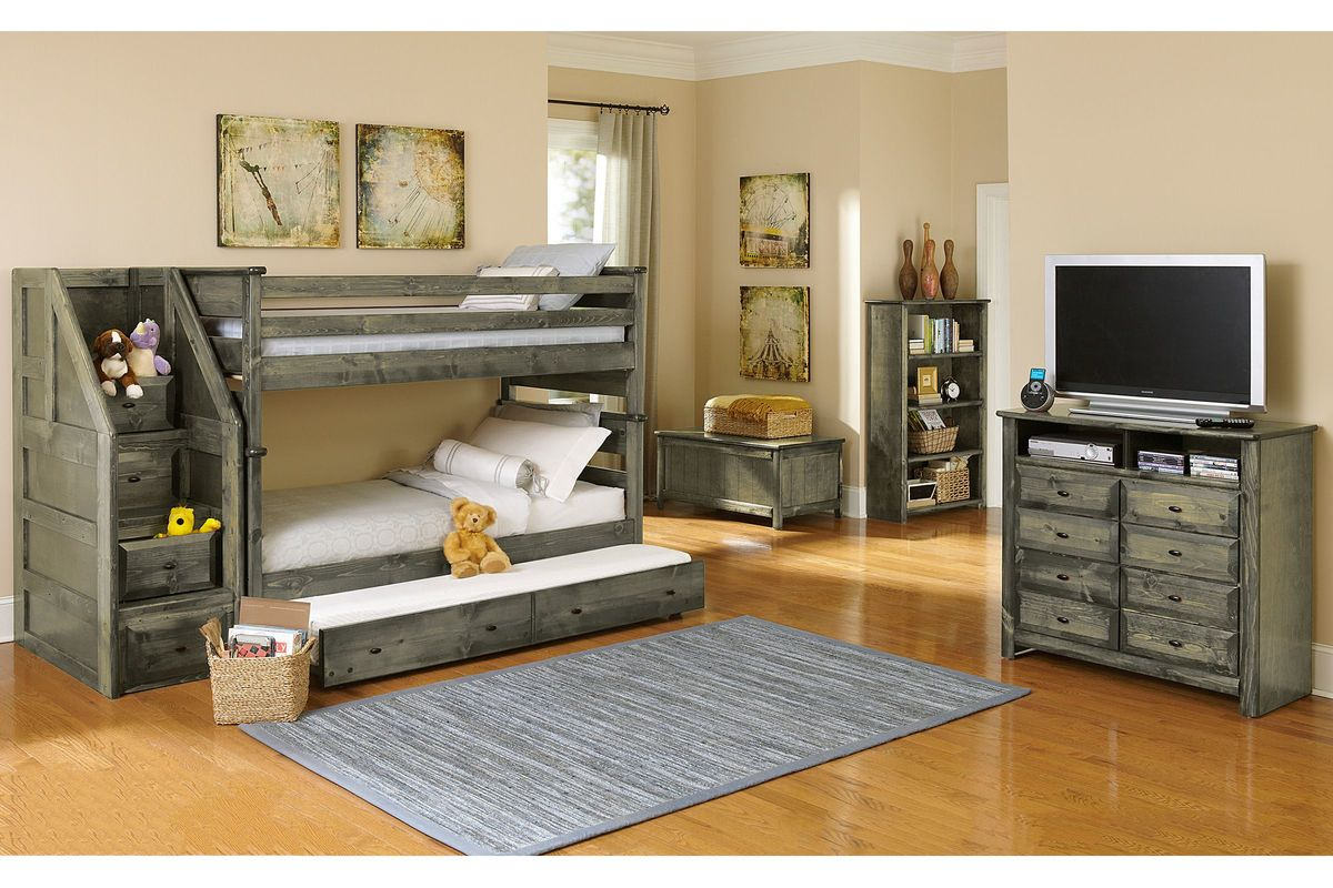 Picture of: Laguna Grey Twin Over Twin Bunk Bed At Gardner White