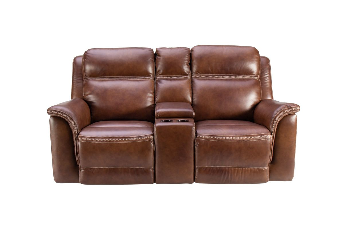 Fargo Leather Power Reclining Loveseat with Console from Gardner-White Furniture