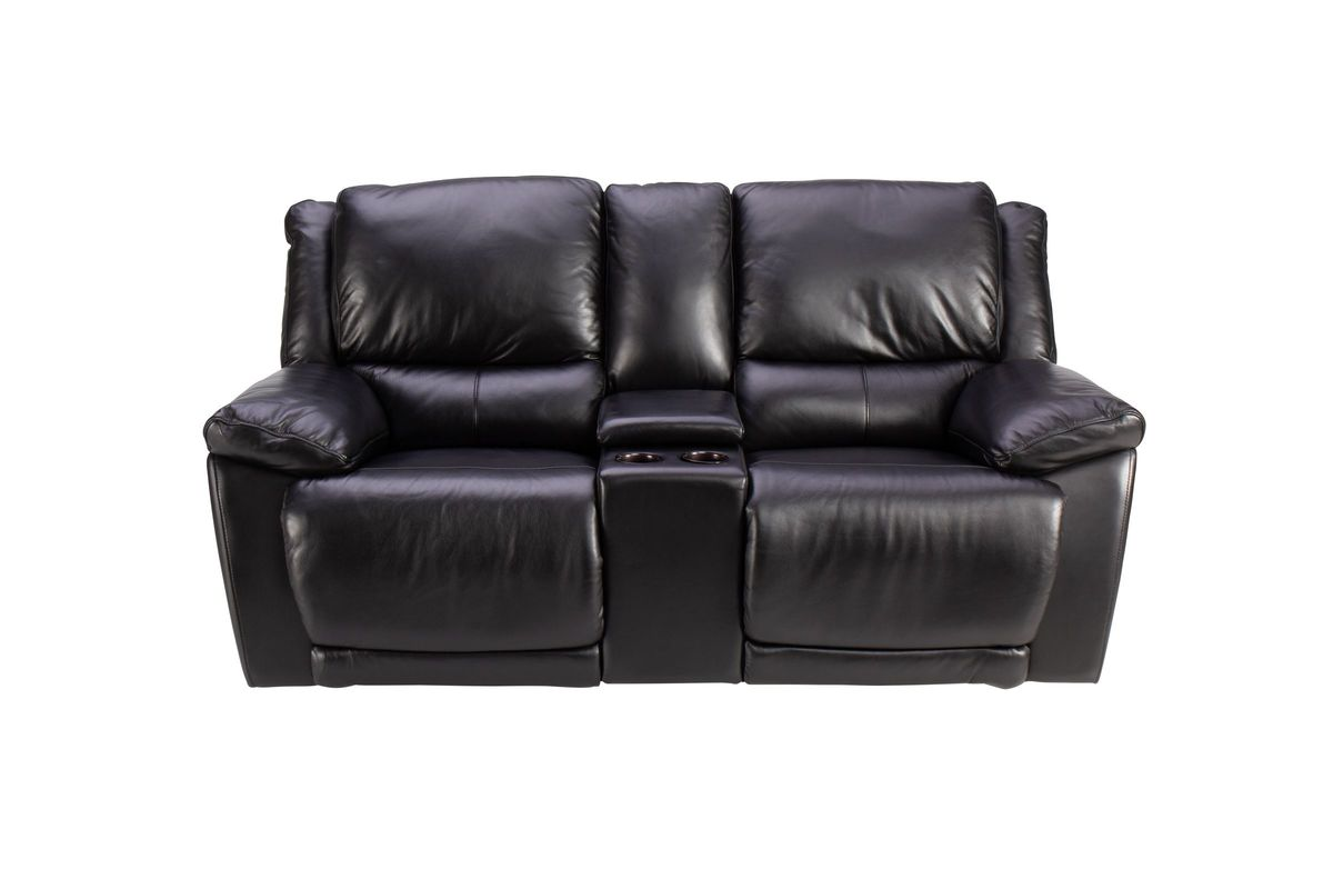 Bermuda Leather Power Reclining Loveseat with Console from Gardner-White Furniture