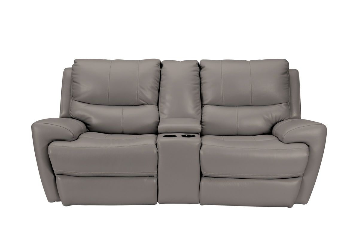 Greystone Power Reclining Loveseat with Console from Gardner-White Furniture