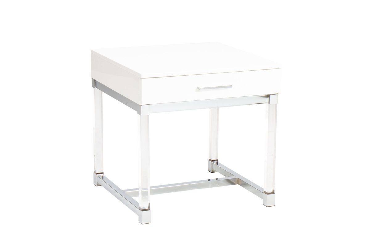 Everett White and Acrylic End Table from Gardner-White Furniture