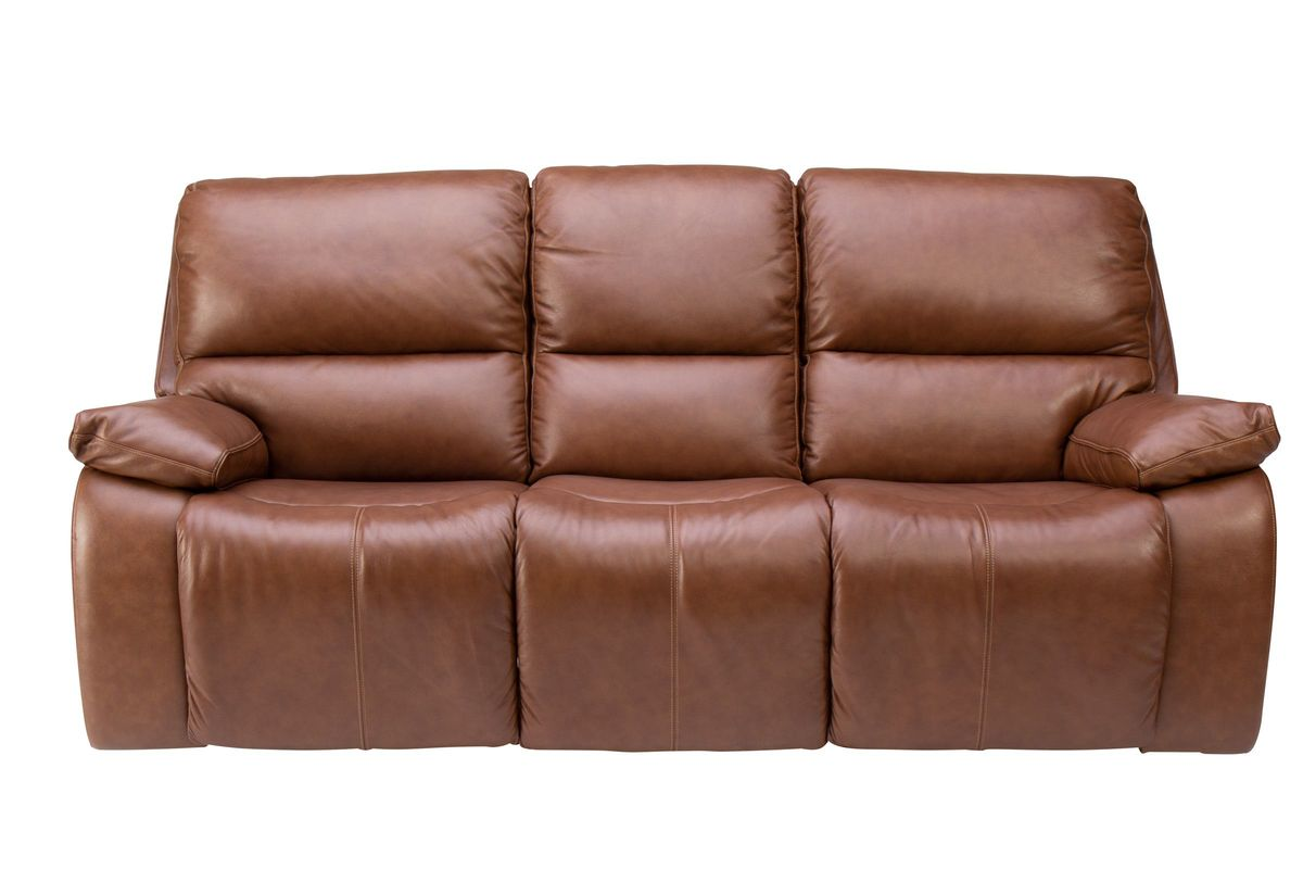 Mustang Triple Power Leather Reclining Sofa from Gardner-White Furniture