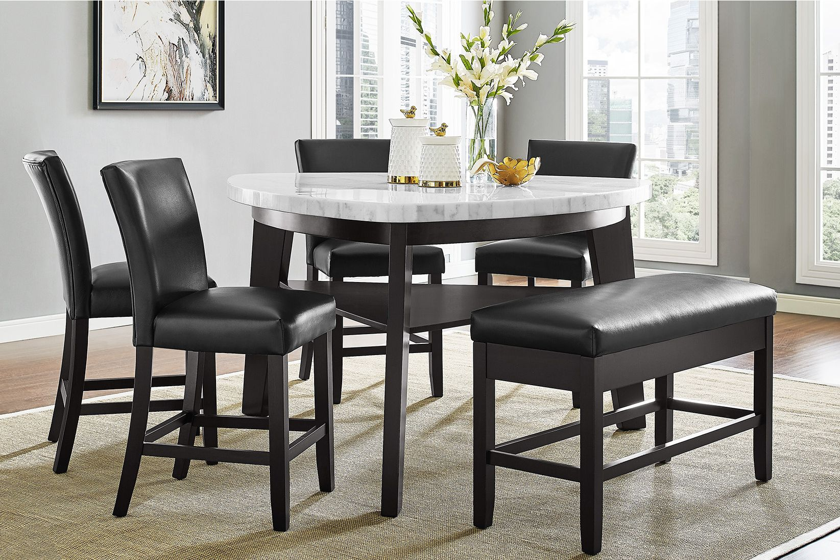 Carrara Marble Counter Height Dining Table 4 Counter Chairs Storage Bench