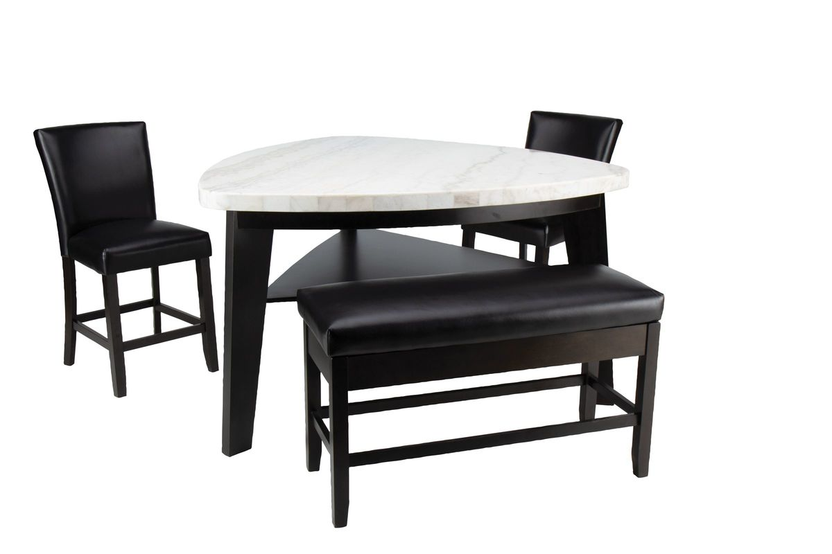 Image of: Carrara Marble Counter Height Dining Table 2 Counter Chairs Storage Bench
