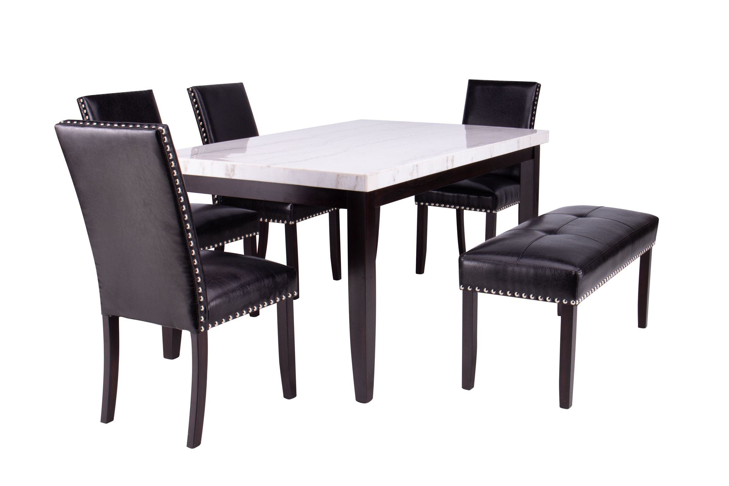 Westby Genuine White Marble Table 4 Chairs Bench At Gardner White