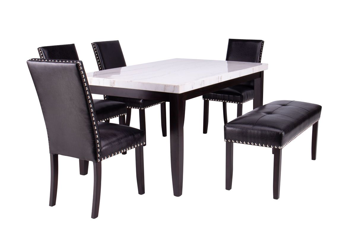 Westby Genuine White Marble Table + 4 Chairs + Bench from Gardner-White Furniture
