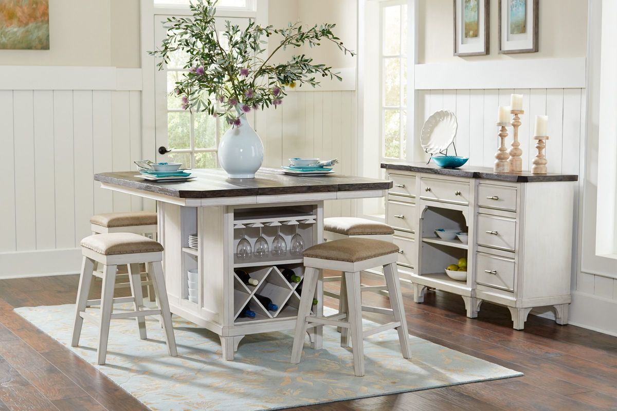 Mystic Island Table + 4 Gathering Chairs from Gardner-White Furniture