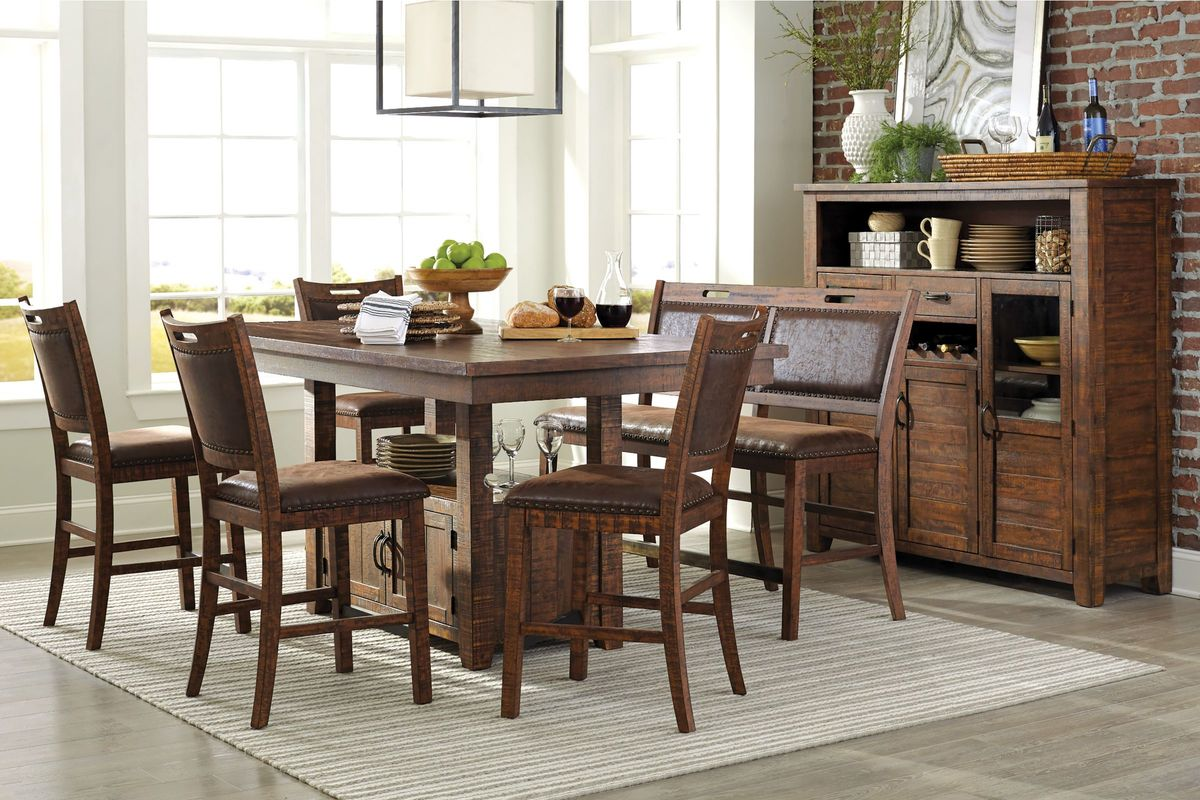 Arizona Adjustable Pub Table + 4 Stools + Pub Bench from Gardner-White Furniture
