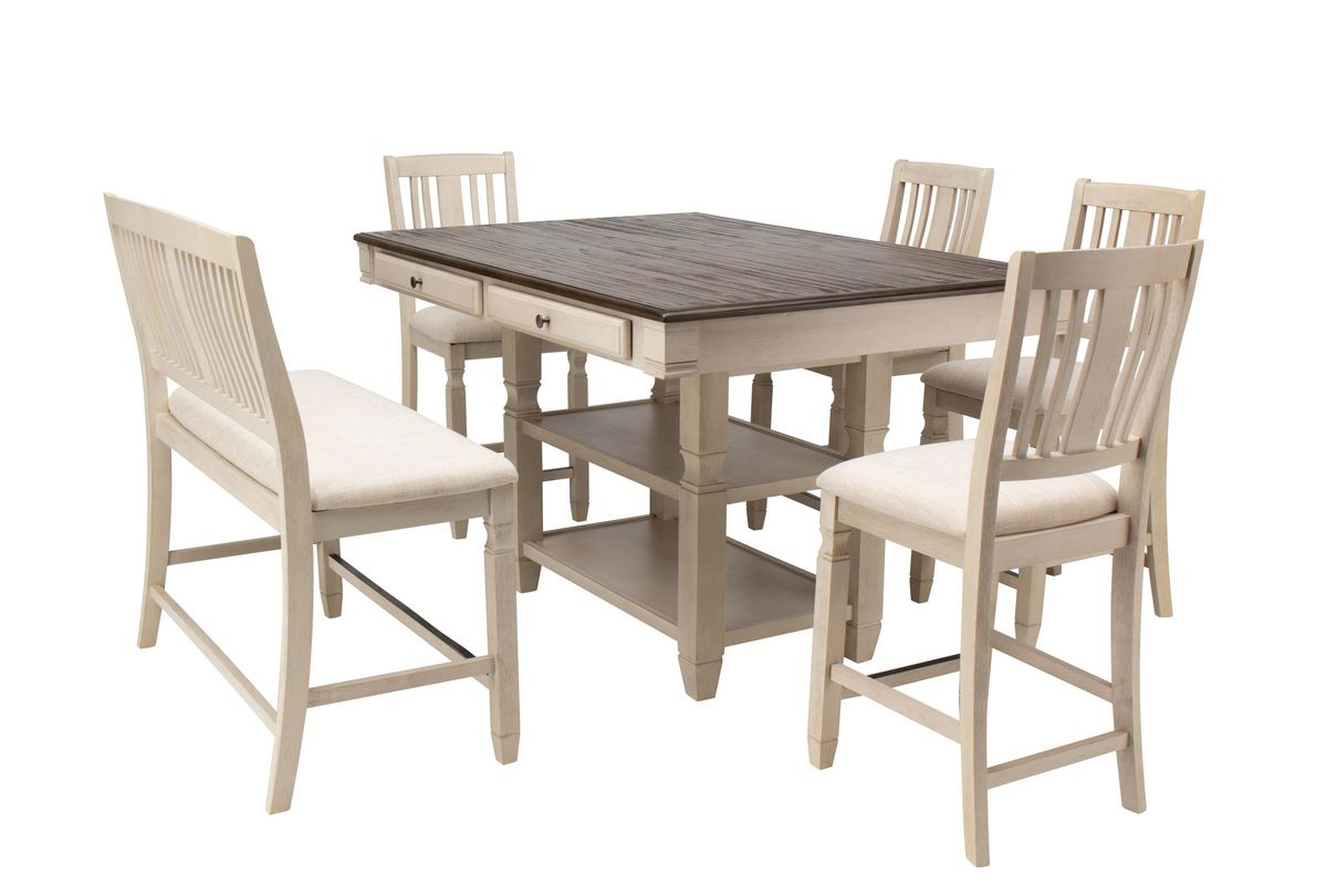 Venus Gathering Table + 4 Gathering Chairs + Bench from Gardner-White Furniture
