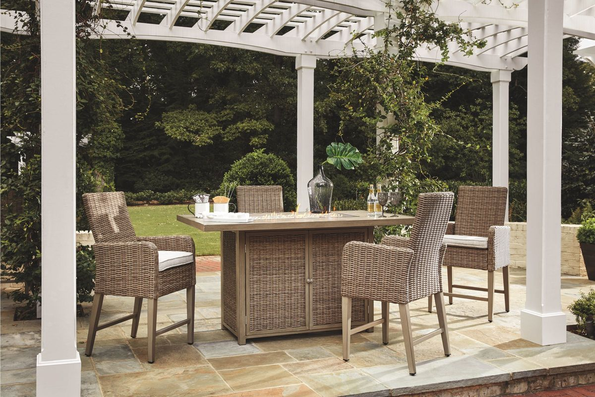 Beachcroft 5-Piece Firepit Pit Dining Set by Ashley from Gardner-White Furniture