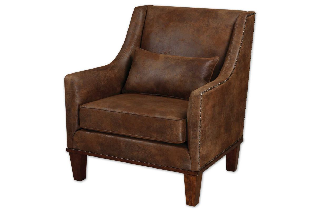 Uttermost Clay Leather Armchair from Gardner-White Furniture