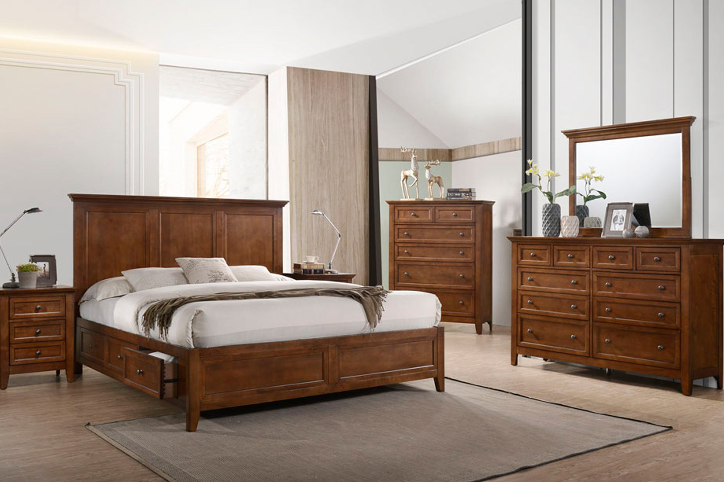 San Mateo 5 Piece Solid Wood Queen Storage Bedroom Set
