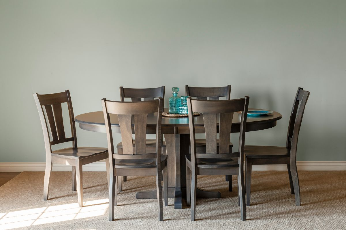 Sterling Solid Maple Table with Mineral Finish + 4 Two-Slat Chairs by Gascho from Gardner-White Furniture
