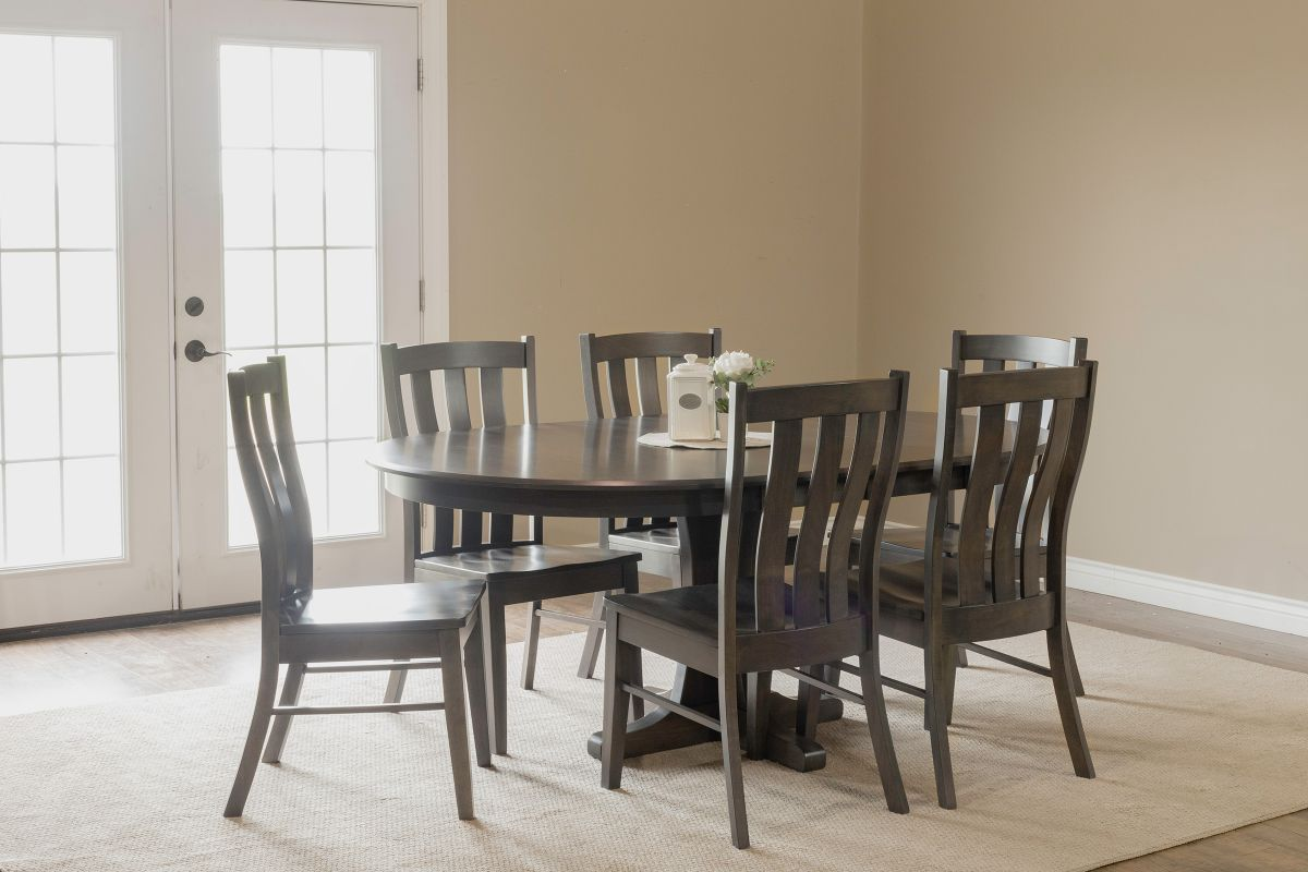 Sterling Solid Maple Table with Mineral Finish + 6 Three-Slat Chairs by Gascho from Gardner-White Furniture