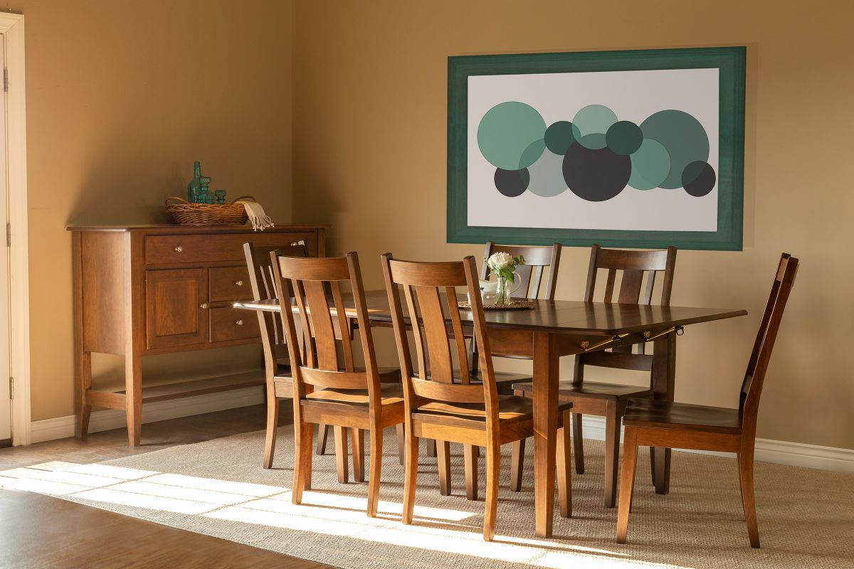 Saber Solid Cherry Table with Walnut Finish + 6 Three-Slat Chairs by Gascho from Gardner-White Furniture
