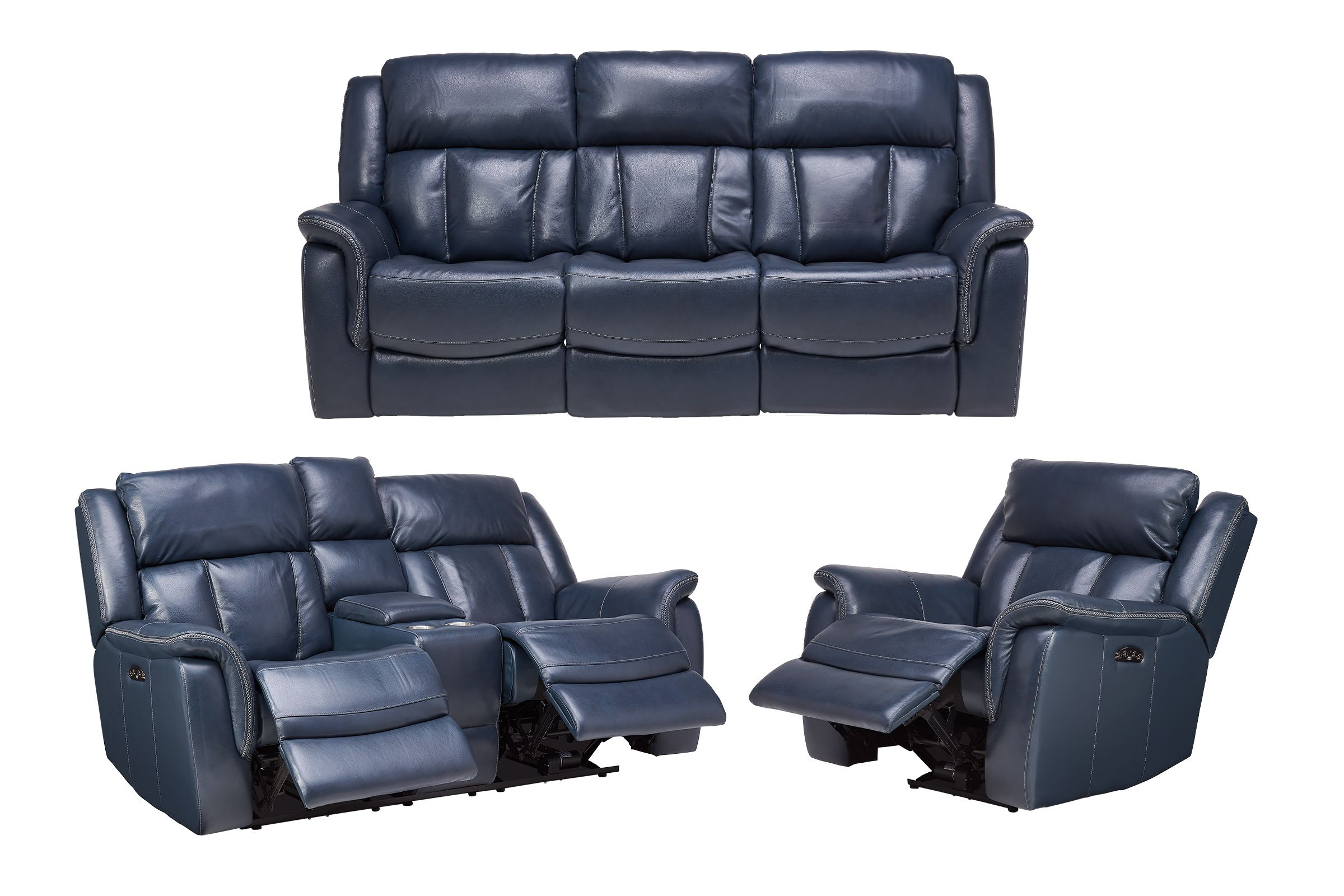 Patriot Blue Leather Dual Power Reclining Sofa Loveseat Recliner