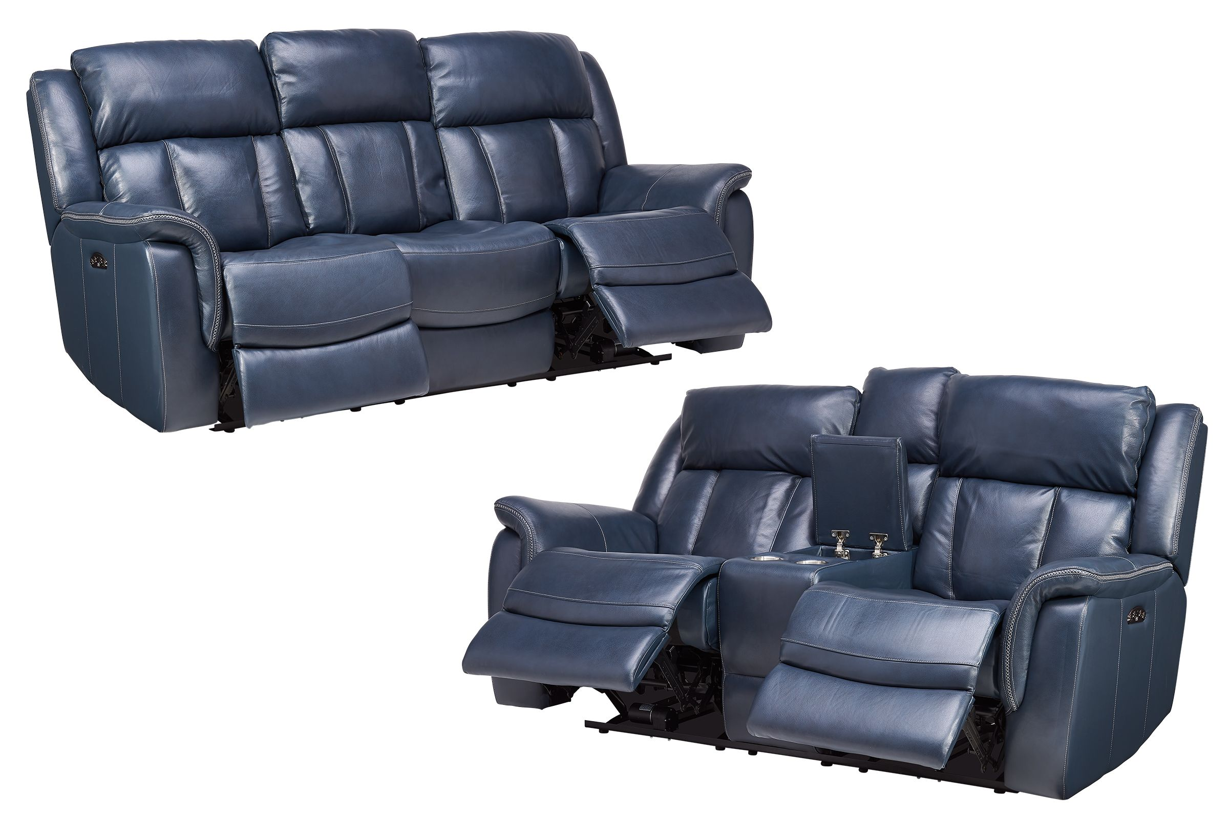 Patriot Blue Leather Dual Power Reclining Sofa Loveseat With Console