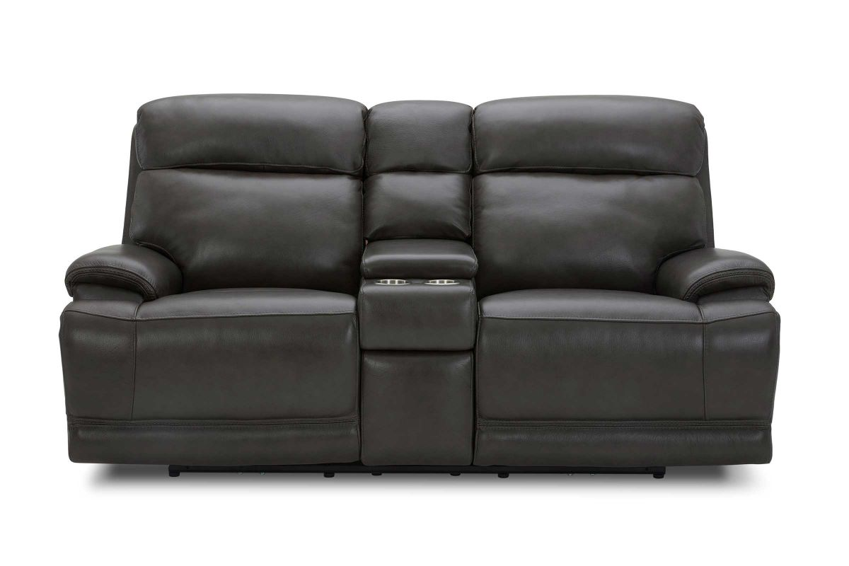 Ashton Dual Power Reclining Leather Loveseat with Console from Gardner-White Furniture