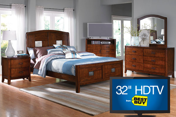 Carly Queen Bed Dresser Mirror Tv Chest Nightstand A 32 Hdtv From Best Buy