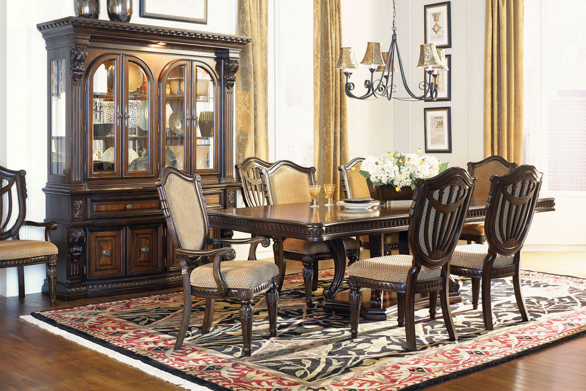 Cabernet Pedestal Table, 4 Side Chairs + 2 Arm Chairs from Gardner-White Furniture