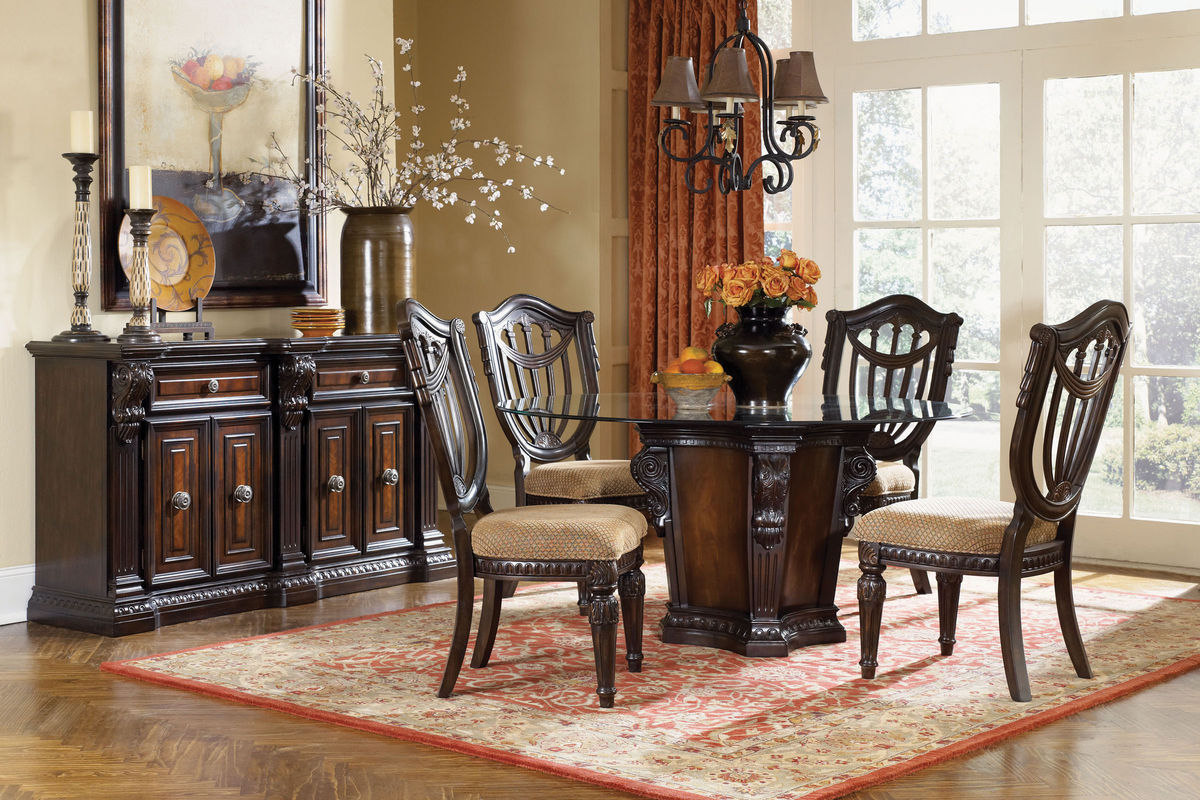 Cabernet Round Glass Pedestal Table + 4 Chairs from Gardner-White Furniture