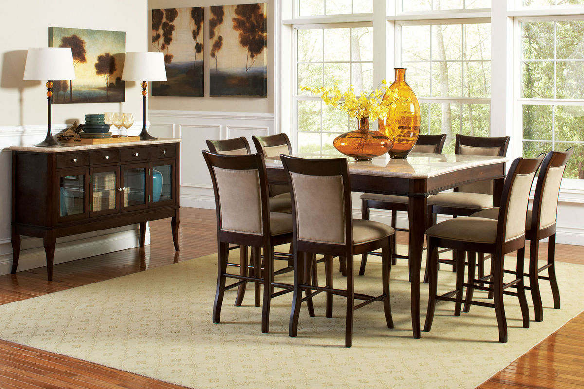 Marseille Gathering Table + 6 Stools from Gardner-White Furniture