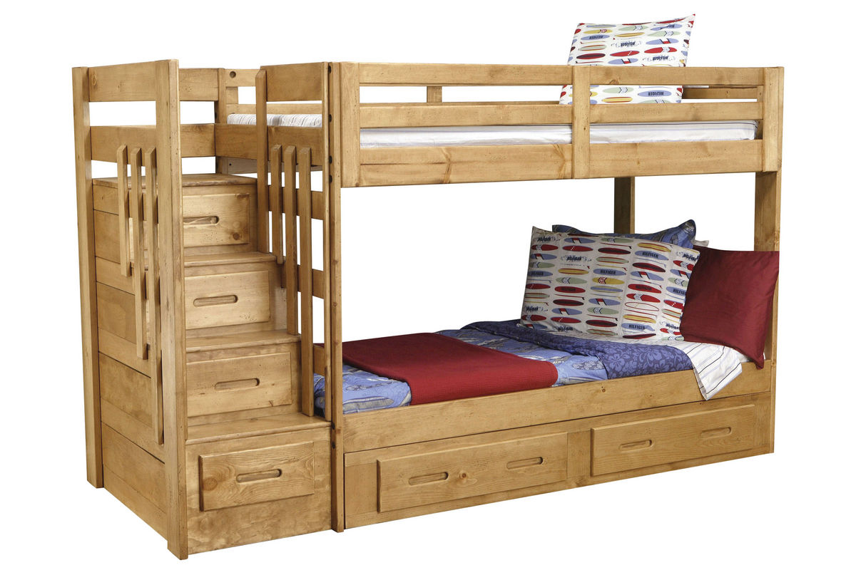 Picture of: Ponderosa Twin Stair Storage Bunk Bed At Gardner White