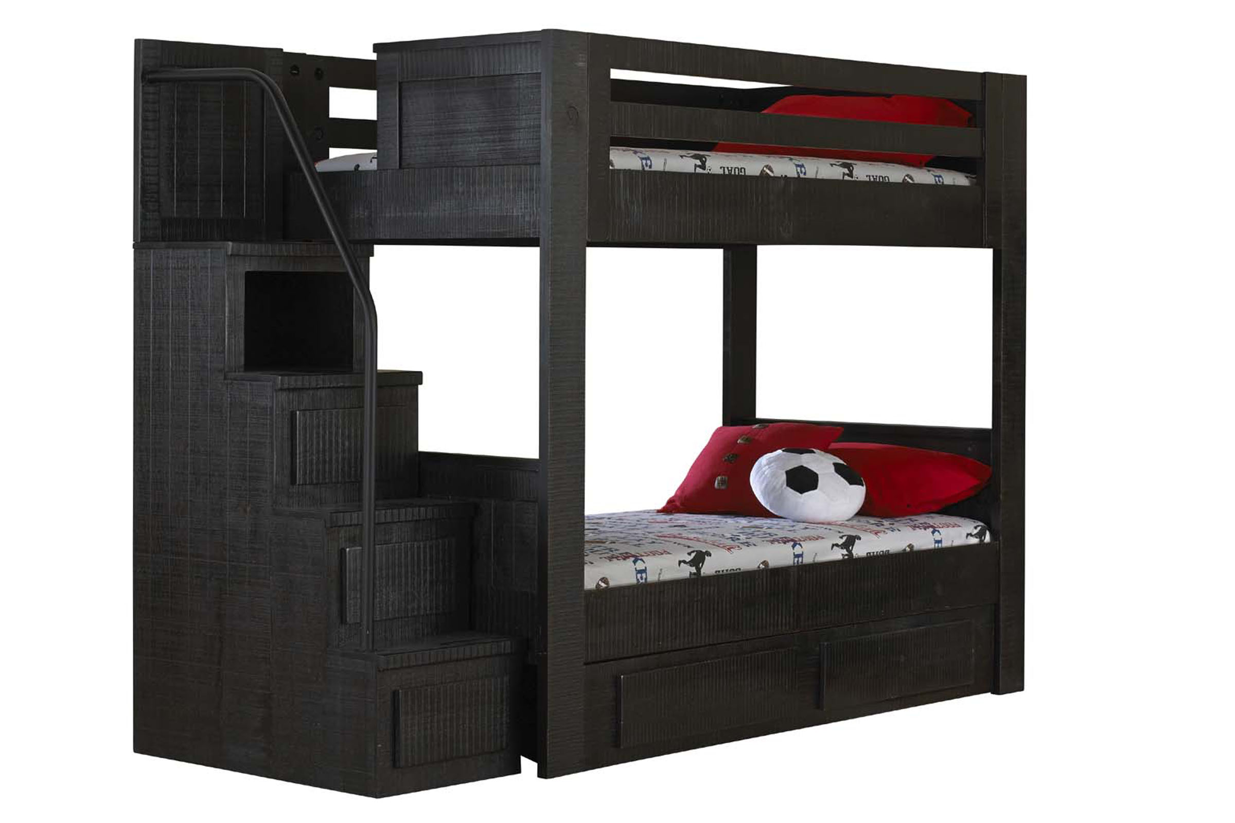 Picture of: Black Full Over Full Bunk Bed With Staircase At Gardner White