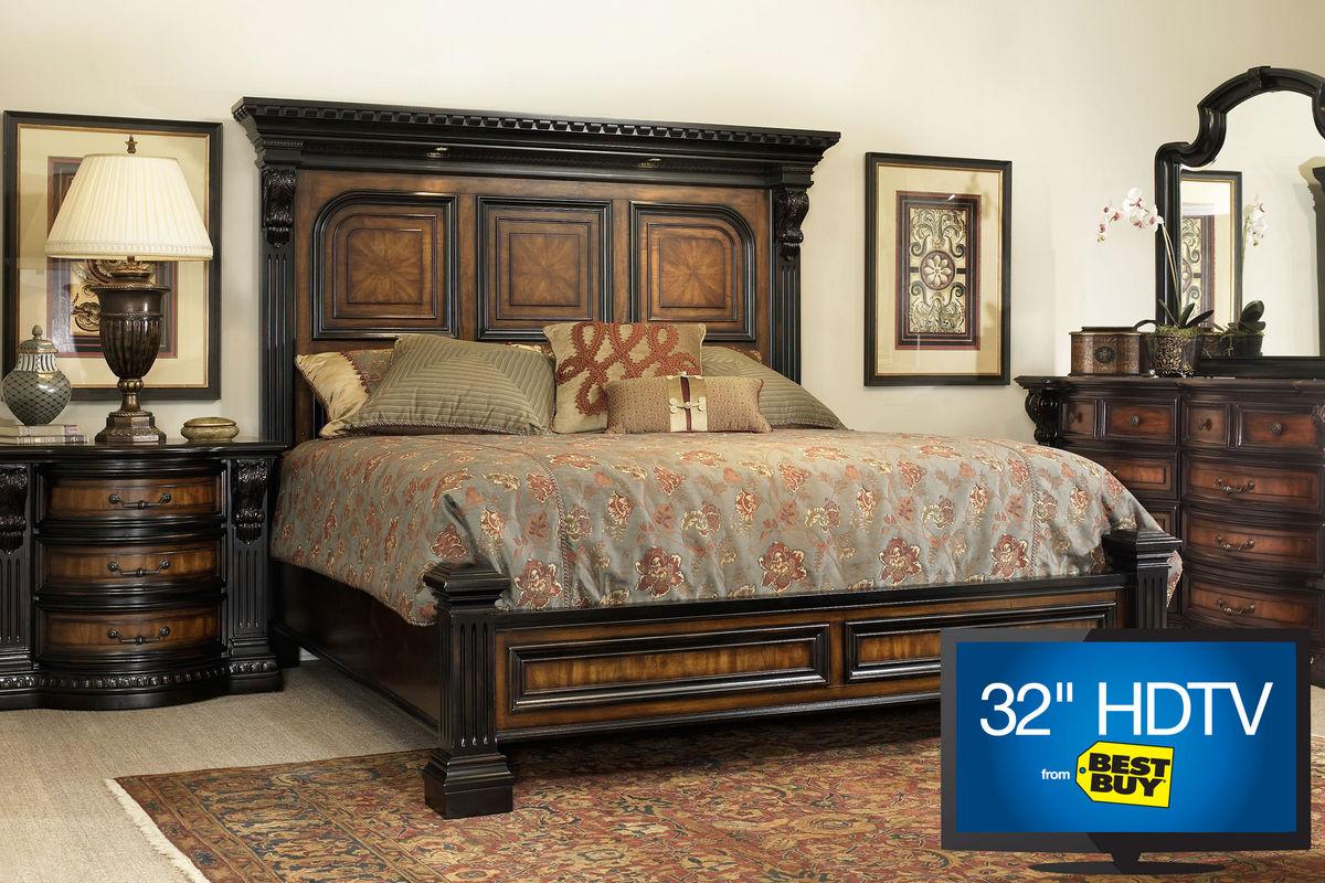 Cabernet King Platform Bedroom Set with 32