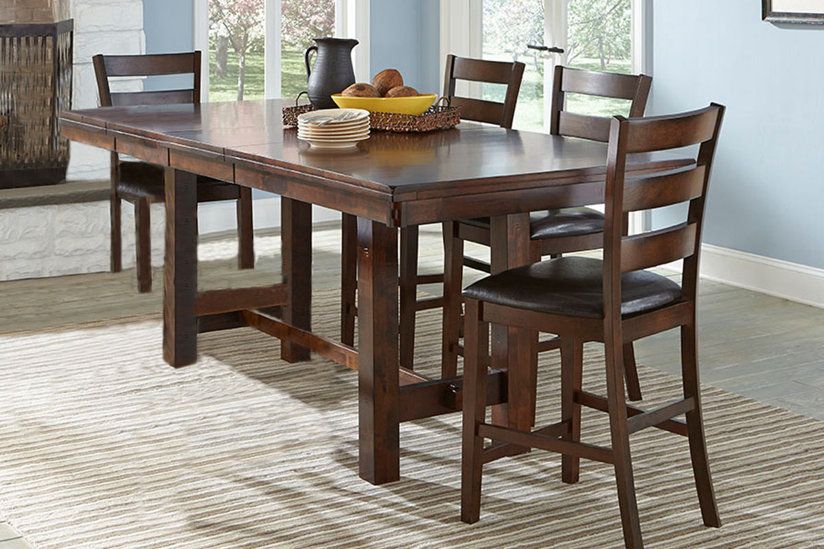 Kona Gathering Table + 6 Bar Stools from Gardner-White Furniture
