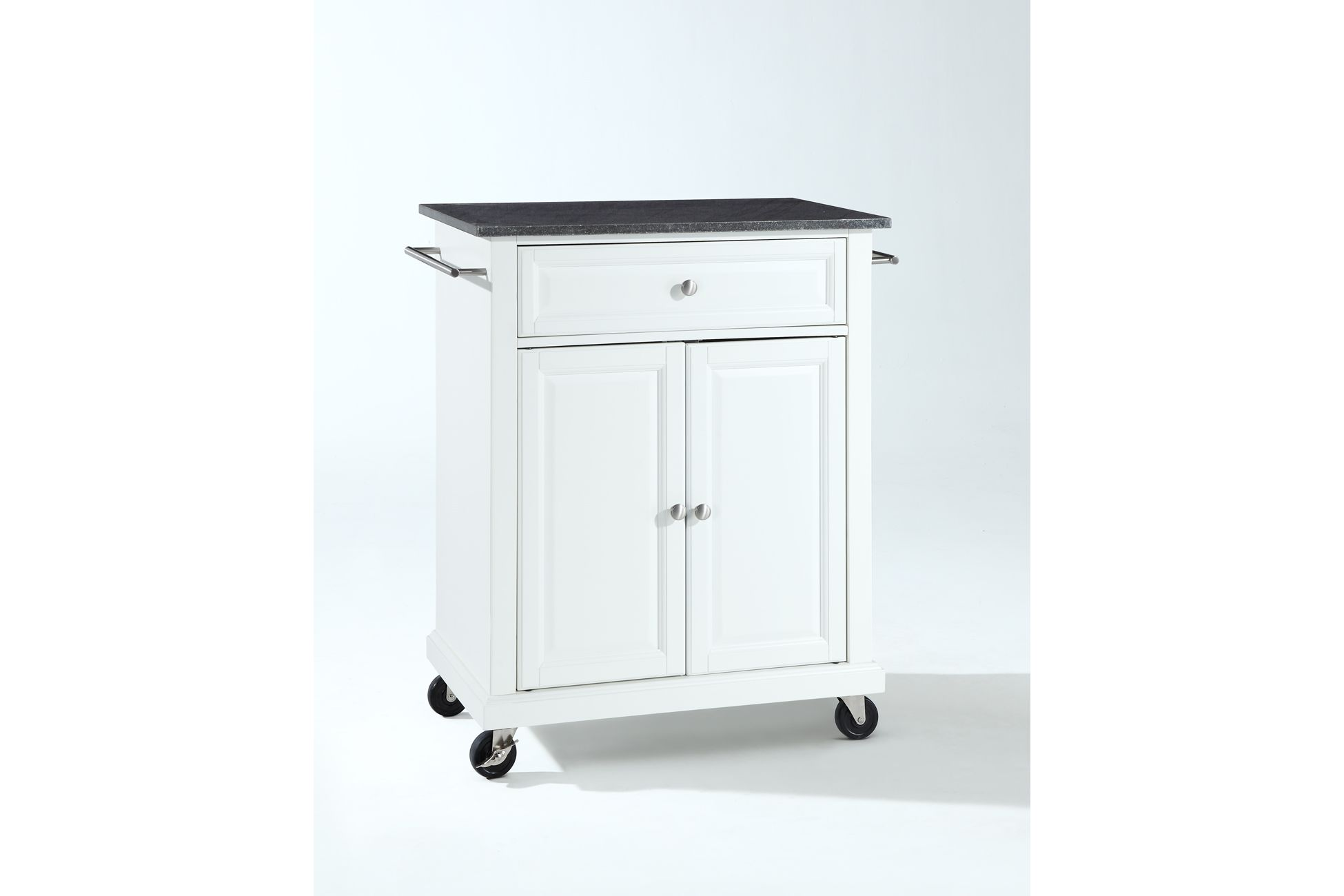 Image of: Solid Black Granite Top Portable Kitchen Cart Island In White