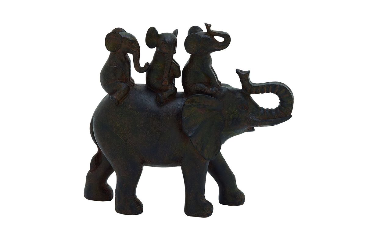 Amazing Animals Whimsical Elephant Family Sculpture in Bronze Brown from Gardner-White Furniture