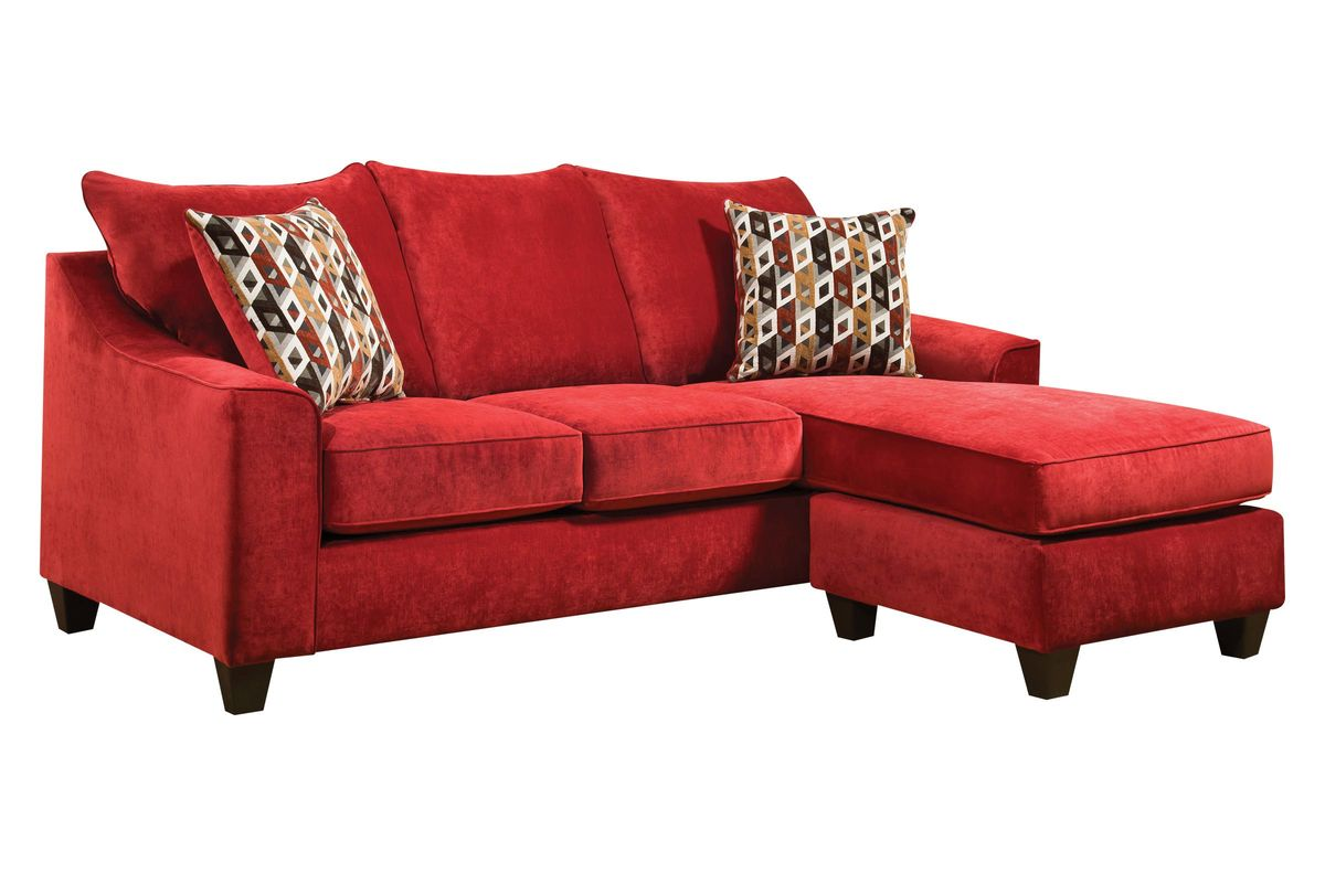 Elizabeth Sofa in Red with Moveable Chaise from Gardner-White Furniture