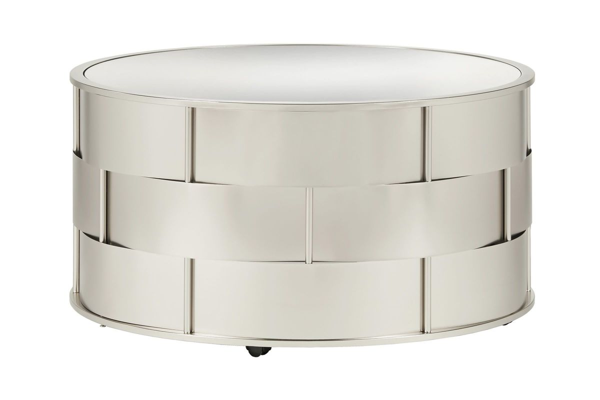 Round Barrel Cocktail Table with Mirror Top from Gardner-White Furniture
