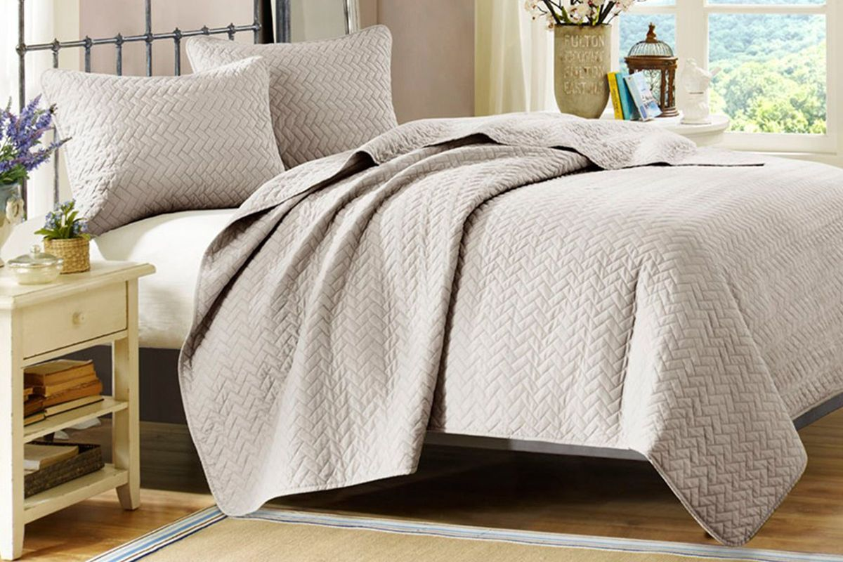 Taupe 3-Piece Queen Coverlet Set from Gardner-White Furniture