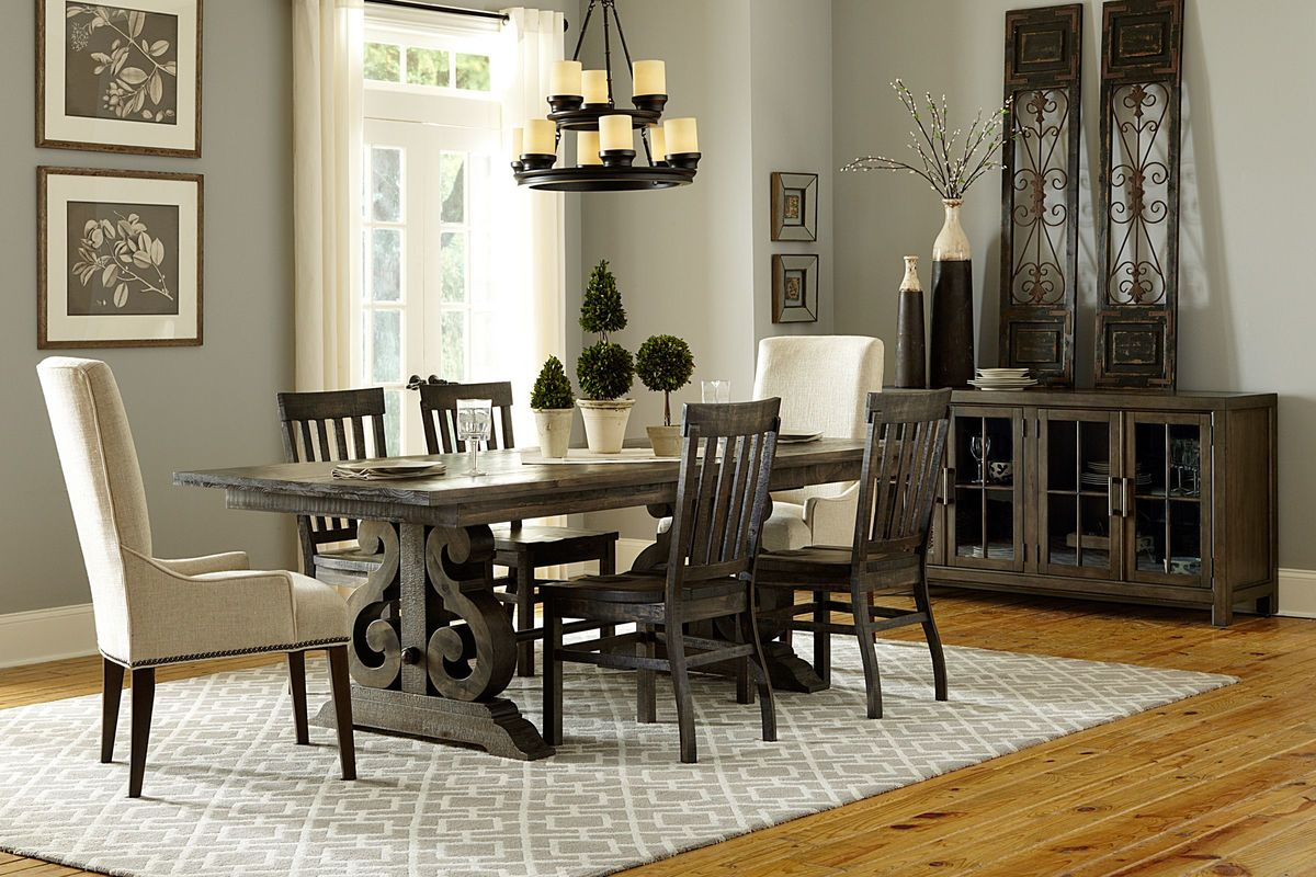 Bellpine Rectangular Dining Table + 2 Side Chairs + 2 Upholstered Chairs + Bench from Gardner-White Furniture