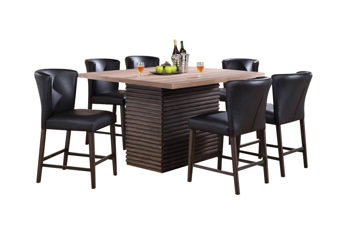 Fleming Pub Table + 6 Brown Pub Stools from Gardner-White Furniture