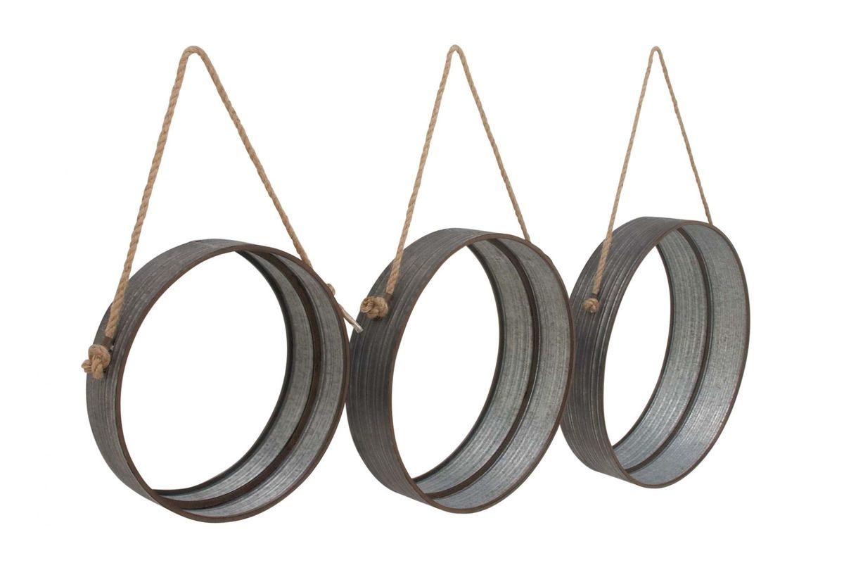 Modern Reflections Round Metal Rope Hanging Wall Mirrors Set Of 3 By Uma
