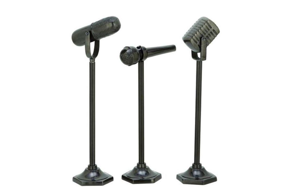Modern Reflections Microphone Sculptures (Set of 3) in Gun Metal from Gardner-White Furniture