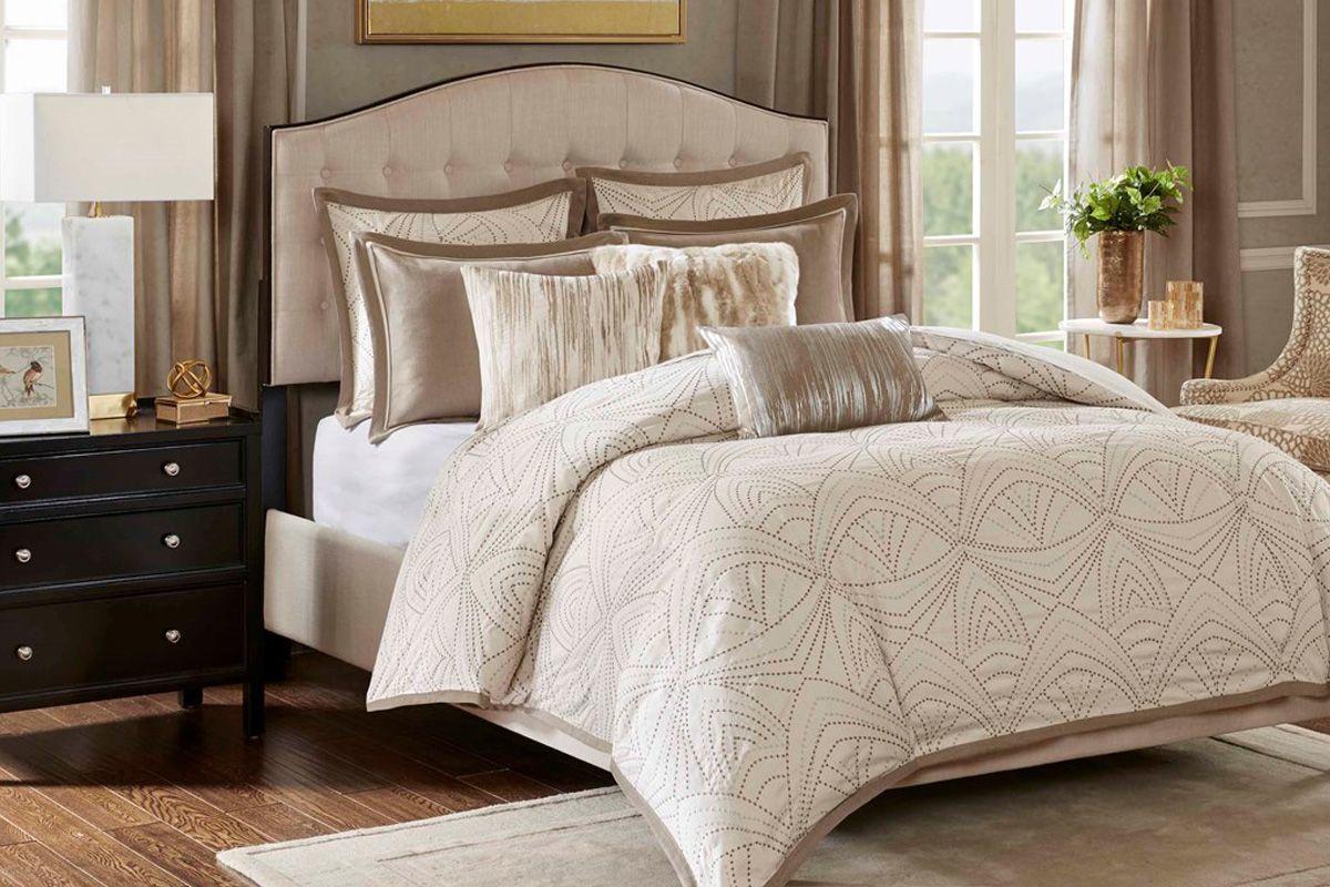 Glamorous 9-Piece King Comforter Set from Gardner-White Furniture
